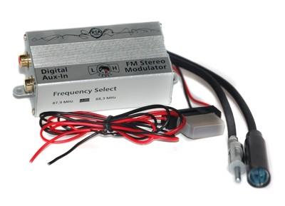 AUX IN - digitale FM modulator, 2 frekw. jack & plug