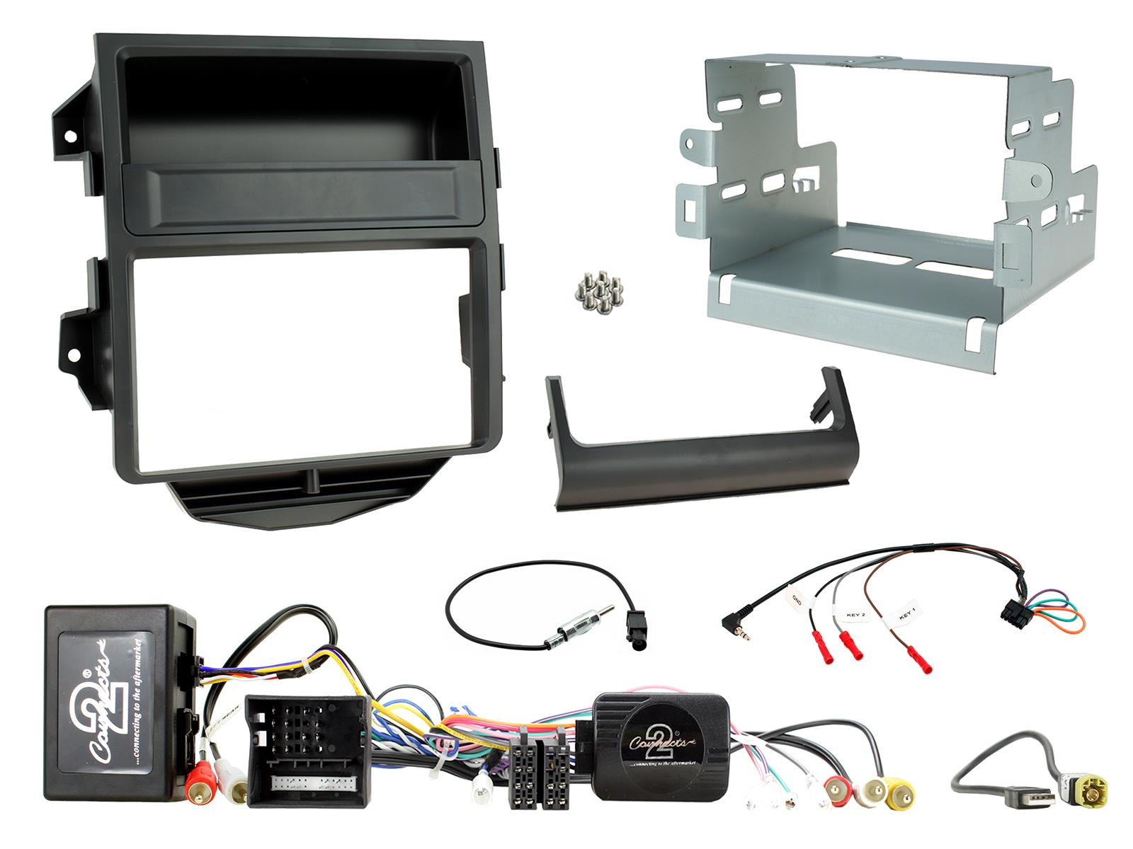 2DIN KIT Porsche Macan 2014-2016 Zwart + Amp Retention
