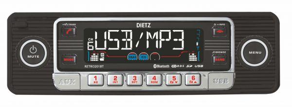 1-Din Retro 201BT Radio CD/MP3/USB/SD/RDS/AUX 4x50W zwart