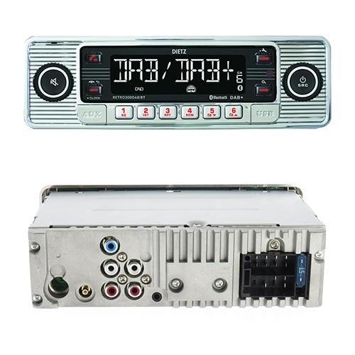 1-Din Retro 300 DAB+/BT MP3,USB, RDS Silver