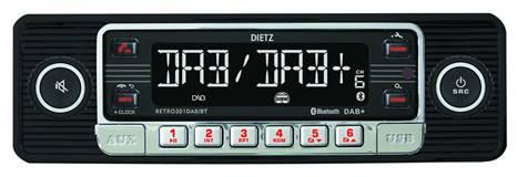 1-Din Retro 301 DAB+/BT MP3,USB, RDS Zwart