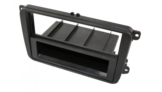 2-DIN inbouwframe met bakje, VW/Skoda Zwart Rubber Touch