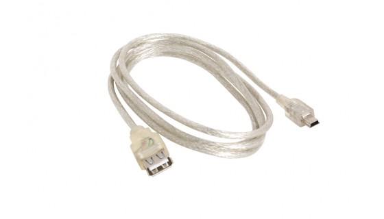 USB adapter, Mini USB 5-pin mannelijk >USB 2.0  l=150cm