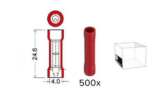 Kabeldoorverbinders rood 1,7-4,0 mm 1000 stuks
