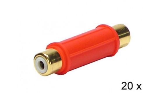 Audio adapter RCA F - RCA F ROOD 20 stuks