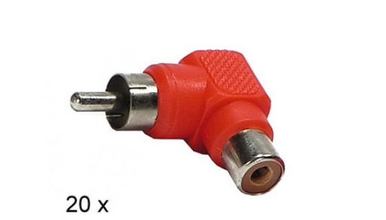 RCA 90° conn. mannelijk>vrouwelijk RED 20 stuks