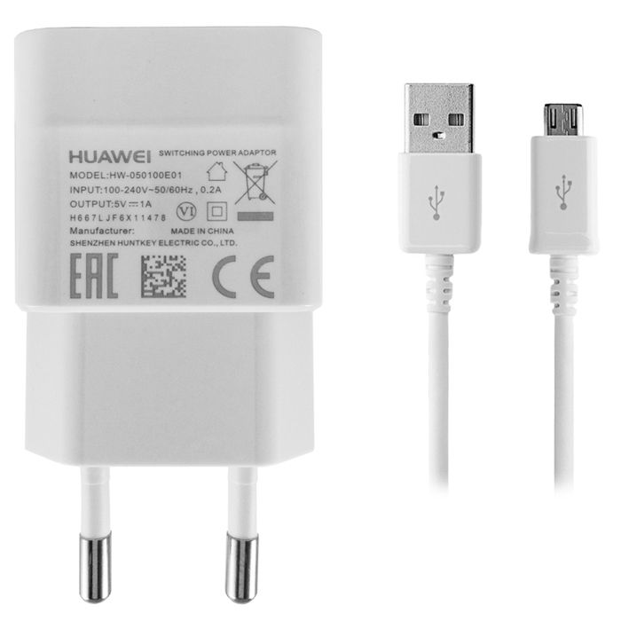 Reislader 230V USB Huawei HW-050100E01  1Amp + micro usb